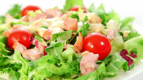 Fresh vegetable salad with smoked chicken Footage