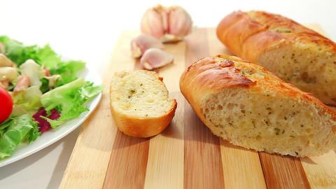 Salad and garlic bread Stock Video Footage