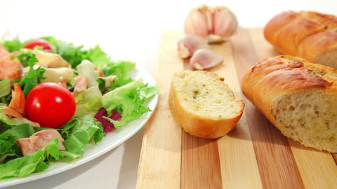 Salad and garlic bread Stock Video Footage