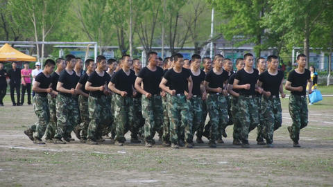 Chinese Soldiers Running stock footage