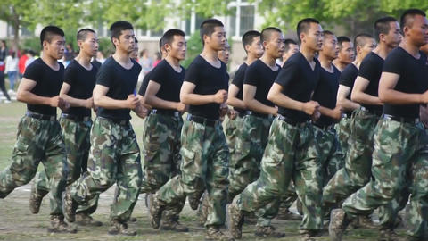 Chinese soldiers running Stock Video Footage