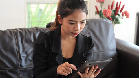 Asian Office Worker Using Tablet Close Up Stock Video Footage