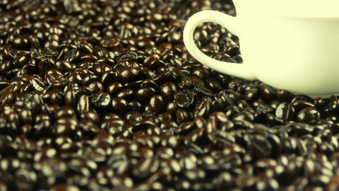 coffee beans & white coffee cup Stock Video Footage