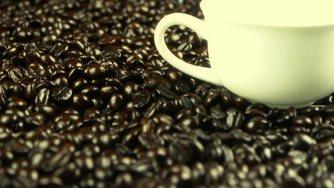 coffee beans & white coffee cup Footage