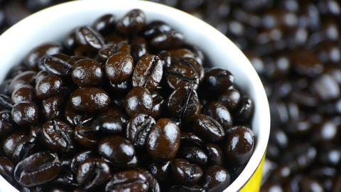 coffee beans in cup close up,top view Stock Video Footage