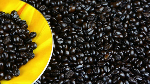 coffee beans in cup saucer close up,top view Stock Video Footage