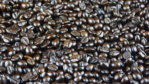 coffee grains falling,top view Stock Video Footage