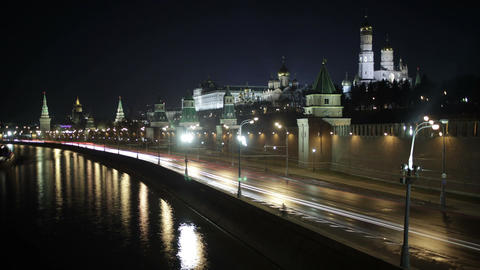 Quay near the Moscow Kremlin. Night time lapse with motion blur Footage