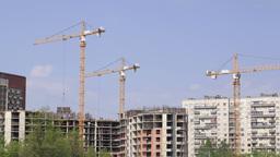 Construction cranes time lapse 1 Footage