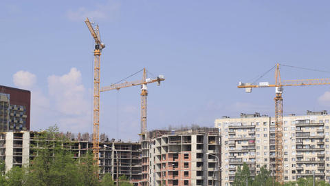Construction cranes time lapse 1 Stock Video Footage