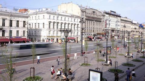 Nevsky prospect. Time lapse 2 Stock Video Footage