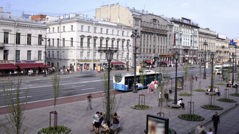 Nevsky prospect. Time lapse 2 Stock Video Footage