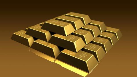 Gold Bricks Pyramid Stock Video Footage
