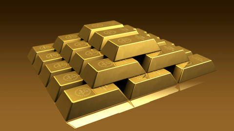 Gold Bricks Pyramid Stock Video Footage