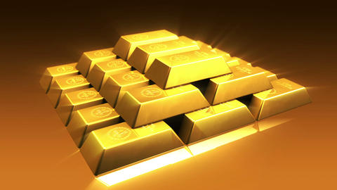 Shiny Gold Bricks Pyramid Stock Video Footage