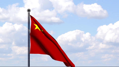 Animated Flag of China / Animierte Flagge von Chin Stock Video Footage