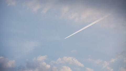 Airplane track with motion in the blue sky Stock Video Footage