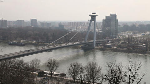 Traffic on the bridge across the Dunai in Bratislava,... Stock Video Footage