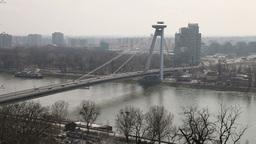 Traffic on the bridge across the Dunai in Bratislava,... Stock Video Footage