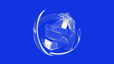 rotation silver glass ribbon shaped ball,high tech energy... Stock Video Footage
