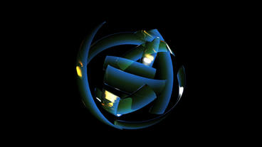 rotation blue glass ribbon shaped ball,high tech energy... Stock Video Footage