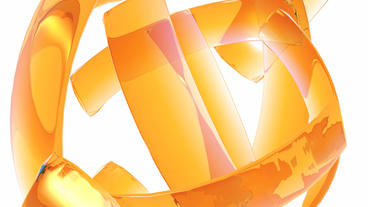 rotation orange glass ribbon shaped ball,high tech energy... Stock Video Footage