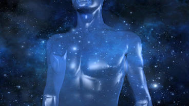 human body & breathing lungs with universe background Stock Video Footage