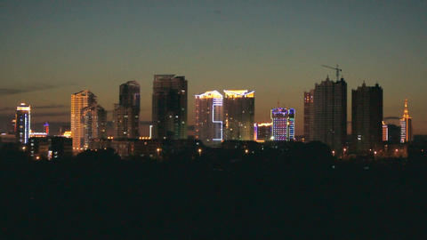 Heihe City Night Skyline Footage