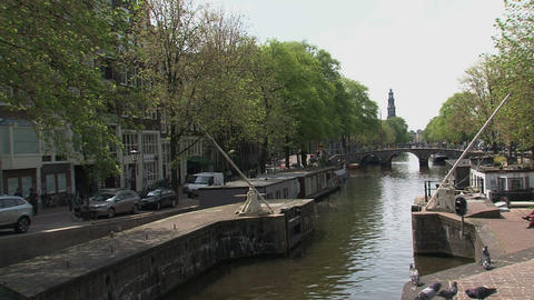 Canal in Amsterdam Stock Video Footage