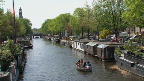 People in a small boat in Amsterdam Footage