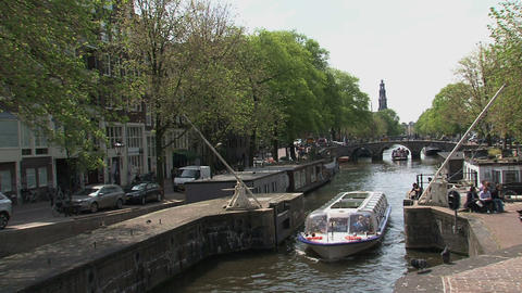 Canal cruise in Amsterdam Footage