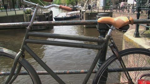 Bike Amsterdam Canal Cruise Stock Video Footage
