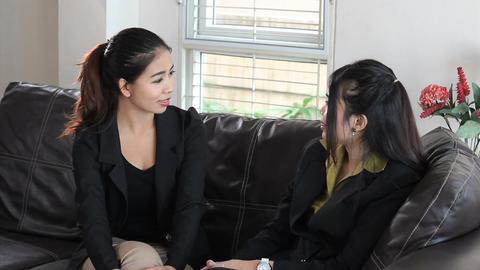 Asian Office Coworkers Enjoy Talking On Break Stock Video Footage