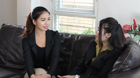 Asian Office Coworkers Enjoy Talking On Break Stock Video Footage
