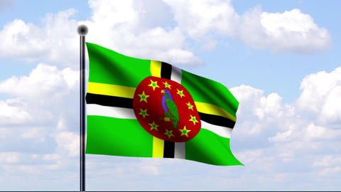 Animated Flag of Dominica Stock Video Footage