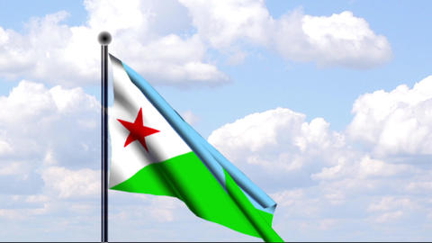 Animated Flag of Djibouti / Animierte Flagge von D Stock Video Footage