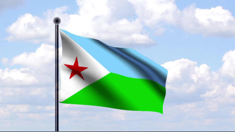 Animated Flag of Djibouti / Animierte Flagge von D Animation
