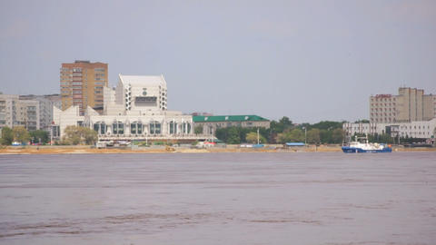 Blagoveshchensk. High water in the Amur River Stock Video Footage