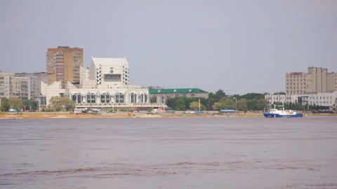 Blagoveshchensk. High water in the Amur River Footage