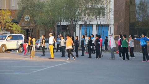 Chinese women dancing on the town street Stock Video Footage