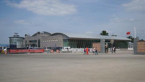 Chinese City of Heihe Passenger Customs 02 Stock Video Footage