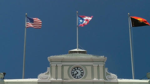 Flags fly atop government building Stock Video Footage