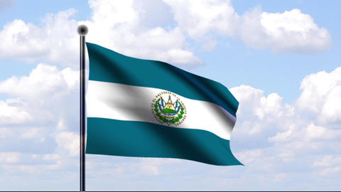 Animated Flag of El Salvador Stock Video Footage
