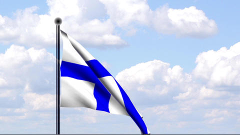 Animated Flag of Finland / Animierte Flagge von Fi Stock Video Footage