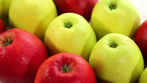 Fresh red and green apples, dolly shot Footage