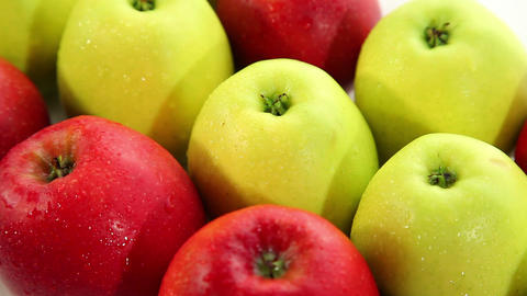 Fresh red and green apples, dolly shot Stock Video Footage