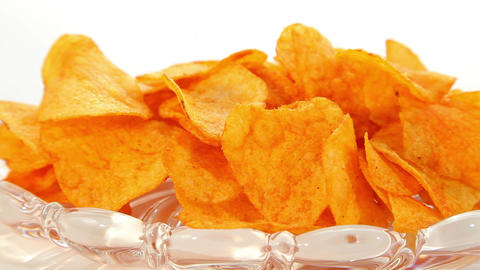 Potato chips, dolly shot Stock Video Footage