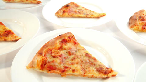 Pizza Margherita with cheese, dolly shot Stock Video Footage