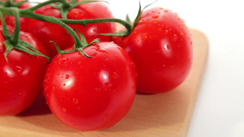 Beautiful fresh ripe red tomatoes - dolly shot Stock Video Footage