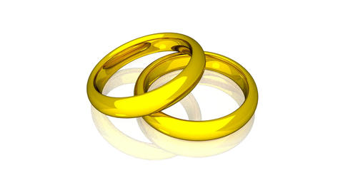Wedding Rings - Gold - Animation Stock Video Footage